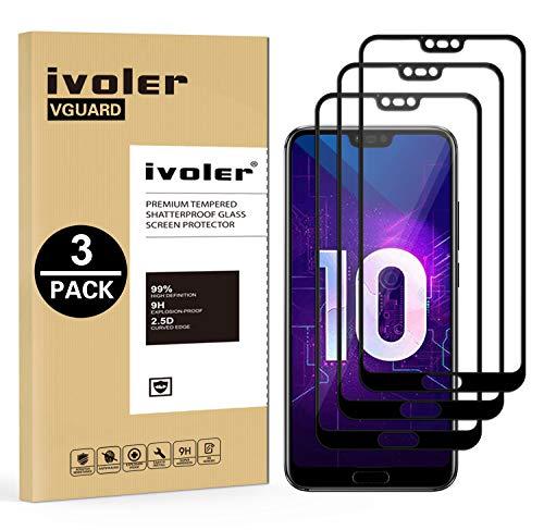 ivoler [3 Unidades] Protector de Pantalla para Huawei Honor 10, [Cobertura Completa] Cristal Vidrio Templado Premium, [Dureza 9H] [Anti-Arañazos] [Sin Burbujas]