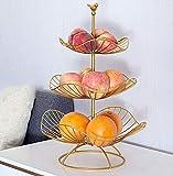XHHXPY Frutero de 3 Pisos Frutero De Capas Canasta,Cesta de Fruta y Verduras fruteros de Cocina para Verduras y Frutas Frescas,Oro