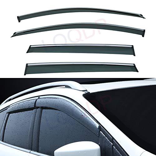 LQQDP Set of 4 Front+Rear Smoke Tint With Chrome Trim Sun/Rain Guard Outside...