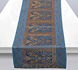 Stylo Culture Brocade Jacquard Center Table Runner Turquoise Rectangular Bohemian Ethnic Table Home Decor Elephant Peacock Traditional Dining Table Cloth   60x16 Inches (152 x 40 cm)