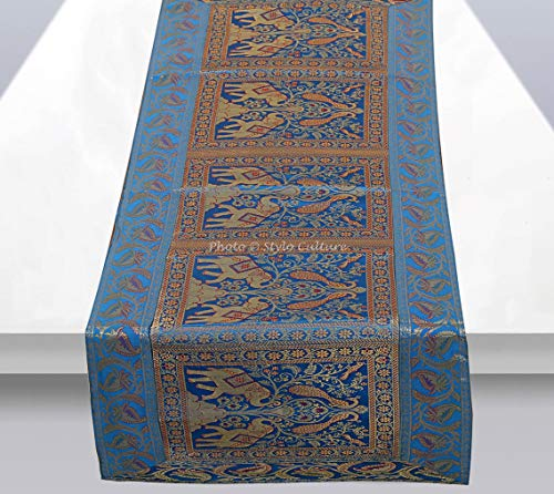 Stylo Culture Dekorativer Indien Tischläufer Türkis Gold Elefant Pfau Bohemien Jacquard Tischdecke Rechteckig 5 Fuß Für Kaffeetisch Brokat Party Tischdekoration (40 x 152 cm)