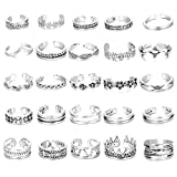 Hanpabum 25Pcs Open Toe Rings Set for Women Girls Vintage Retro Finger Ring Various Types Knuckle Ring Adjustable