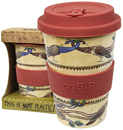 Rice Husk Reusable Coffee Cup/Travel Mug | 400ml | More Eco Friendly Than Bamboo Cup (Plastic Free) | Dishwasher Safe | Microwave Safe | – (Lindisfarne Peafowl)