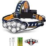 Rabbitstorm Linterna LED Frontal Lámpara Recargable Headlamp, 8 LED...