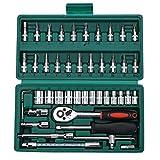 Kit de reparación de automóviles Set Espejo 46 piezas Juego de llaves de trinquete Juego de herramientas de reparación automática