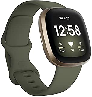Fitbit Versa 3 Health & Fitness Smartwatch with Built-in GPS, Olive/Soft Gold Aluminum