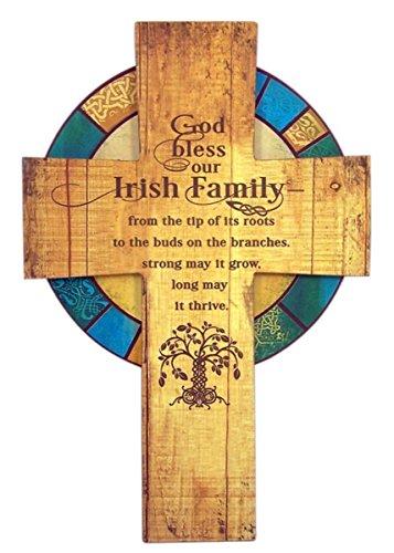 needzoinc God Bless Our Irish Family Wooden Celtic Wall Cross, 13 Inch