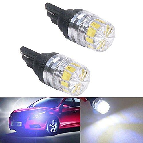 ZHUOTOP Lot de 2 ampoules LED T10 5050 5SMD pour feux arrière latéraux de voiture Blanc