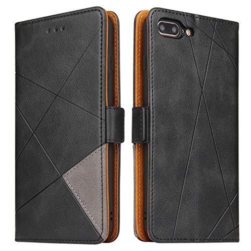 BININIBI Hülle für iPhone 7 Plus, Klapphülle Handyhülle Schutzhülle für iPhone 8 Plus Tasche, Lederhülle Handytasche mit [Kartenfach] [Standfunktion] [Magnetisch] für iPhone 7 Plus / 8 Plus, Schwarz