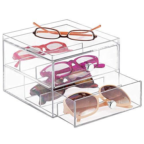 espositore per occhiali mDesign Scatola Porta Occhiali con 2 cassetti – Espositore per Occhiali in plastica – Portaocchiali Perfetto Anche Come Porta gioie o Porta Cosmetici – per Occhiali da Sole o da Vista – Trasparente