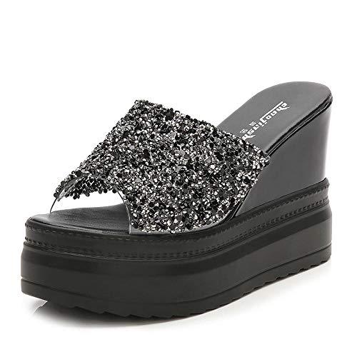 Antislip douchesandalen,Pailletten platform platform hoge hakken,sleehak sandalen en pantoffels met strass steentjes-black_37,Slanke Glamour-teenslippers