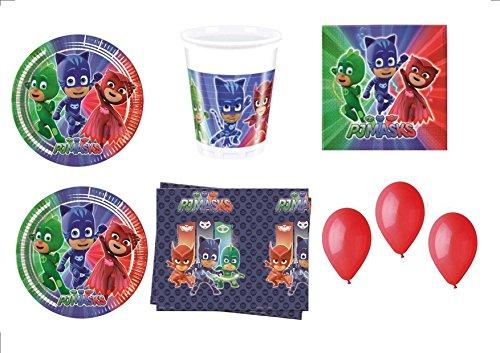 PJ Masks Super pigiamini coordonné décorations fête – Kit N ° 32 CDC- (32, 32 verres, 40 assiettes 40 serviettes, 1 nappe, 100 ballons rouges)