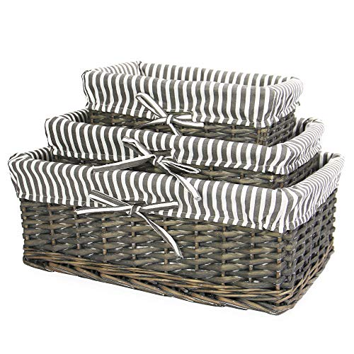Cesta de mimbre gris | Forro a rayas incluido | Baño, hogar y lavandería | Organizador de madera | Cesto decorativo y canastilla | M&W