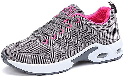 Zapatillas Deportivas de Mujer Air Cordones Zapatillas de Running Fitness Sneakers 4cm Negro Rojo Rosado Púrpura Blanco Gray 37