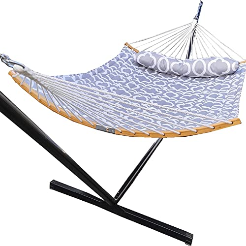 Love Story 2 Person Chain Hammock Include 12.5FT Heavy Duty Standing,Prevention Fall Curved-Bar Bamboo & Detachable Pillow, Outdoor &Indoor Multi-Purpose , Grey