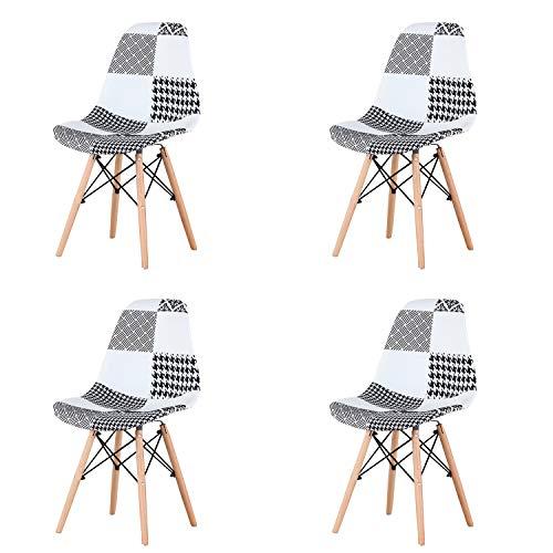 Un conjunto de 4 sillas de comedor hechas de mosaico moderno de estilo escandinavo, con patchwork y sillas de estructura de madera maciza de estilo escandinavo (negro)