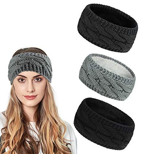 Ealicere 3 pcs Winter Warmes Knoten Gestrickte Stirnbänder, Elastisches Frauen Haarband, Gestrickt Stirnband Damen mit Warmes und Weiches Fleece Innenfutter