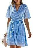 BTFBM Women Fashion Faux Wrap Swiss Dot V-Neck Short Sleeve High Waist A-Line Ruffle Hem Plain Belt Short Dress (Light Blue, Medium)