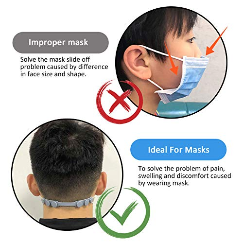 A 12 Pieces Face Strap Extender Ear Strap Hook 3 Gear Adjustable Extension Strap to Relieve Long-time Wearing Discomfort and Pain for Kids Adult