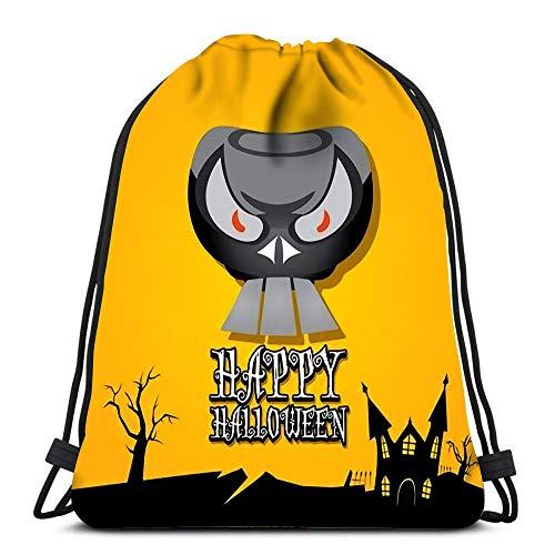 Hdadwy Mochila con cordón Bolsas Deportivas Cinch Tote Bags Happy Halloween Skull para Viajar y almacenar