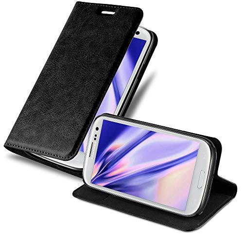 Cadorabo Hülle für Samsung Galaxy S3 / S3 NEO - Hülle in Nacht SCHWARZ – Handyhülle mit Magnetverschluss, Standfunktion & Kartenfach - Case Cover Schutzhülle Etui Tasche Book Klapp Style