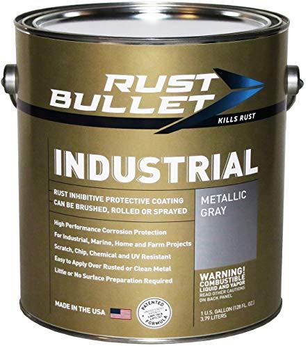 Rust Bullet Industrial - Rust Inhibitor Paint, Industrial Strength Protective Coating UV Resistant - No Topcoat Needed - Metallic Grey (Gallon)