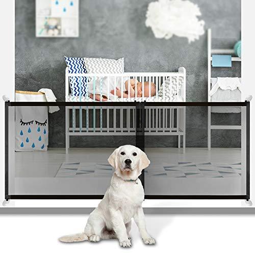 Puerta mágica para Mascotas o Bebés, ZSTKEKE Barrera Seguridad Perros - Diseño de cremallera ajustable 3 tamaños 210cm/120cm/90cm-Puertas para perros para puertas-Valla protectora interior