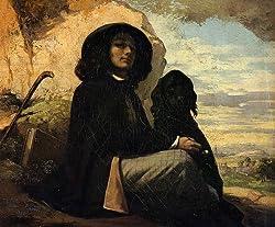 ギュスターブ・クールベ作,黒い犬を連れたクールベ,1842年