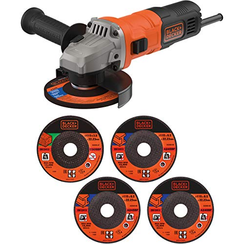 BLACK+DECKER 710 W Grinder Power Tool 115 mm with 5 Cutting Discs, BEG010A5-GB