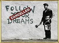ポスター バンクシー Follow Your Dreams 額装品 アルミ製ベーシックフレーム(ゴールド)