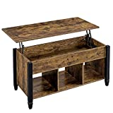 YAHEETECH Rustic Style Lift Top Coffee Table with Hidden Storage Compartment & Shelf, Lift Tabletop Pop-Up Cocktail Table for Living Room, 19.5-24.6in H