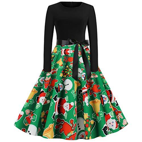 Berimaterry Weihnachtskleid Damen Drucken Langarm Kleider Weihnachten Partykleid Abendkleider Patchwork Ausgestelltes Cocktailkleider Swing Kleid O-Ausschnitt A-Linie Faltenkleid Knielanges