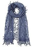 Women's lightweight Feminine lace teardrop fringe Lace Scarf Vintage Scarf Mesh Crochet Tassel Cotton Scarf for Women,One Size,Navy 21