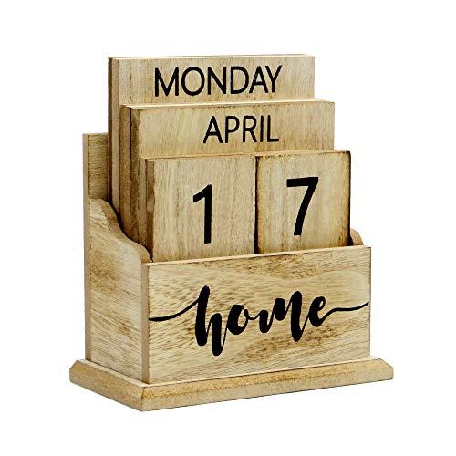 Calendario perpetuo de madera de la vendimia | Elegante calendario de escritorio eterno | Diseño de bloque de elevación 'n' | Perfecto para el hogar o la oficina | M&W (Madera)