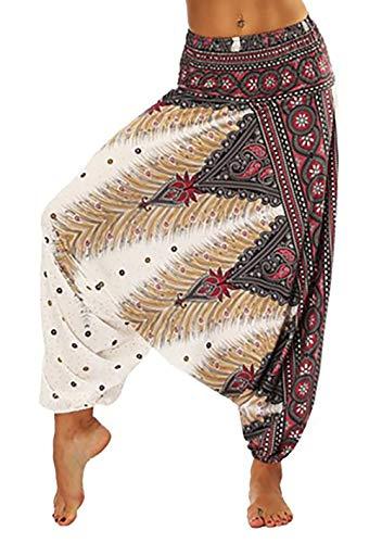 APig Pantalones Bombacho Mujer, Harén Pantalón Chandal árabe Pantalones de Yoga Pantalones Deportivos Harem Pantalón