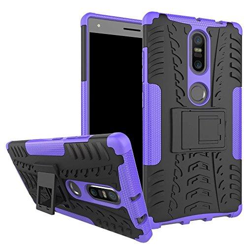 Sunrive Für Lenovo Phab 2 Plus, Hülle Tasche Schutzhülle Etui Hülle Cover Hybride Silikon Stoßfest Handyhülle Hüllen Zwei-Schichte Armor Design schlagfesten Ständer Slim Fall(lila)
