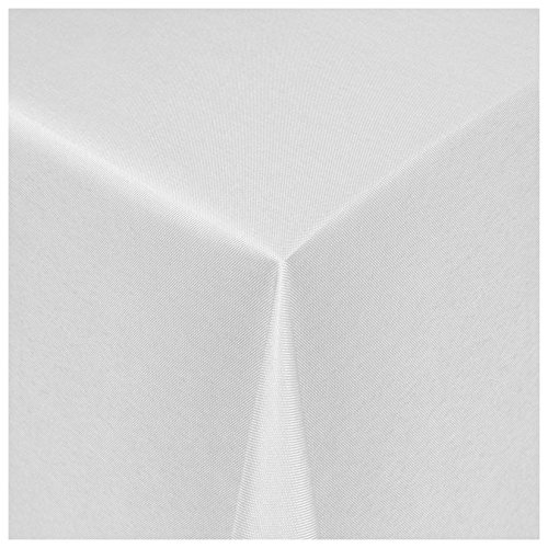 MODERNO® Textil Tischdecke Uni Design   eckig 80x80 cm in Weiss Damast   Eckig Oval Rund Größe und Farbe wählbar