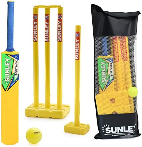 SUNLEY Plastic Cricket kit for All Age Groups and Sizes 1 Piece Cricket Bat 4 Piece Wickets product image