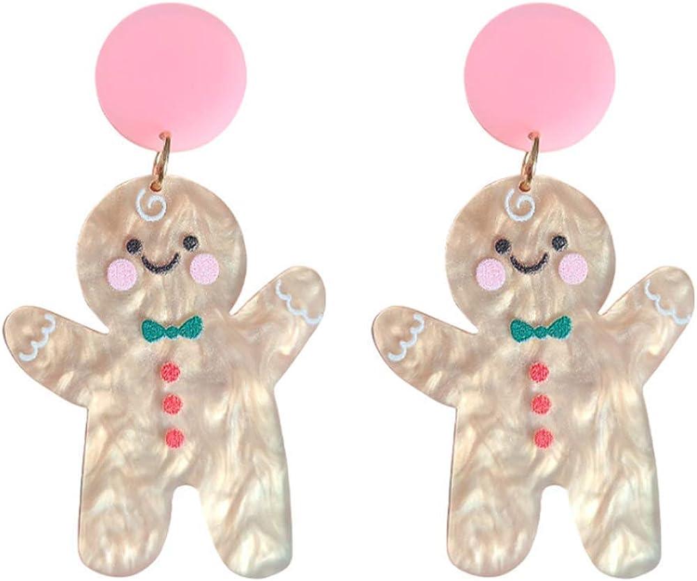 YIZHEN Acrylic Funny Gingerbread Man Dangle Drop Earrings For Women Girls