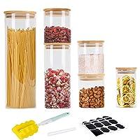 gomaihe 6 pcs barattoli di vetro barattolo cucina, contenitori alimentari con coperchio di a tenuta d'aria bambù, contenitore ermetico per alimenti pasta caffè, vetro borosilicato (0.3/0.5/1/2.1l)