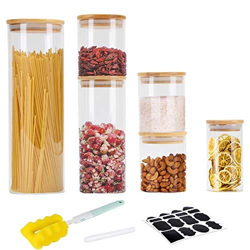 GoMaihe Vorratsdosen 6er Set, Vorratsdosen Glas Gewürzgläser Luftdicht Glasbehälter aus Glasdose Mit Deckel Set, Vorratsdosenset Glas Aufbewahrung Küche Tee Gewürzgläser 0.3/0.5/1/2.1L
