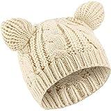 SATINIOR Gorro de Oreja de Gato Sombrero de Punto Lindo Gato Sombrero de Cable Punto de Invierno para Mujeres Niños (Beige, 1)