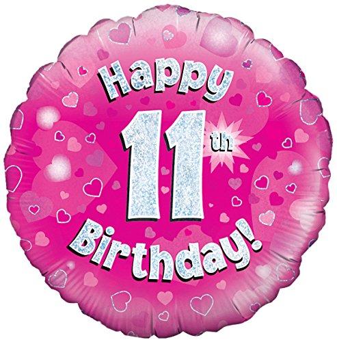 Roze leeftijd 11 ronde folieballon (niet opgeblazen)