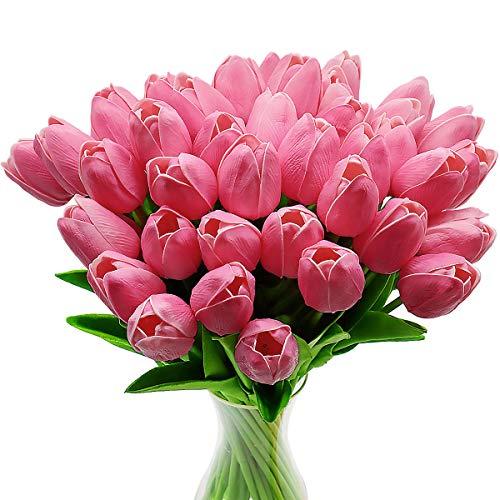 CattleyaHQ Flores de tulipán Artificiales, 10 Piezas de Tulipanes Reales con Hojas, decoración para Banquete de Boda Nupcial, Mesa de Cocina para el hogar (Rosado)