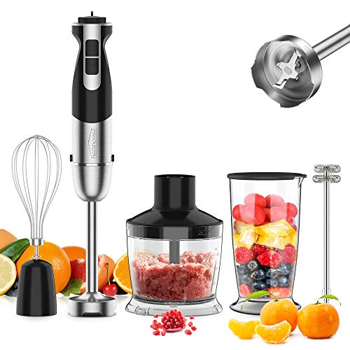 [Upgraded] 5-In-1 Immersion Blender Hand Blender, healthomse 800W 12-Speed Powerful Stainless Steel Stick Blender with Milk Frother,Egg Whisk, 4-Blades 500ml Chopper and 700ml Beaker with Lid
