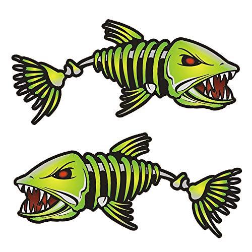 Lixada 2 Pièces Poisson Dents Bouche Autocollants Squelette Poisson Autocollants Bateau de Pêche Canoë Kayak Graphiques Accessoires Autocollants de Camion Autocollants de Pêche Drôles (Couleur 3)