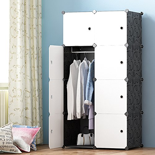JOISCOPE Portable Wardrobe for Hanging Clothes, Combination Armoire, Modular Cabinet for Space...