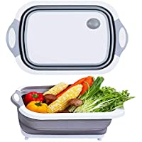 Anguipie 3 in 1 Collapsible Cutting Board with Colander