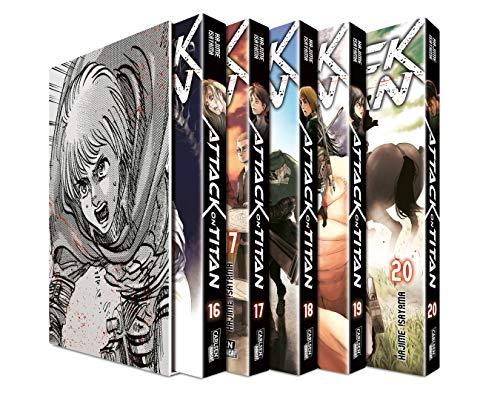 Attack on Titan, Bände 16-20 im Sammelschuber mit Extra: Atemberaubende Fantasy-Action im Kampf gegen grauenhafte Titanen