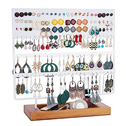 QILICZ Soporte para joyas y pendientes – 144 agujeros, soporte para pendientes con base de madera, soporte para joyas, soporte para pendientes (blanco mejorado)